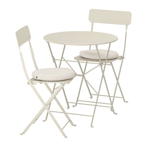 Saltholmen Table And 2 Folding Chairs Outdoor Beige Folding Chair Chair Ikea