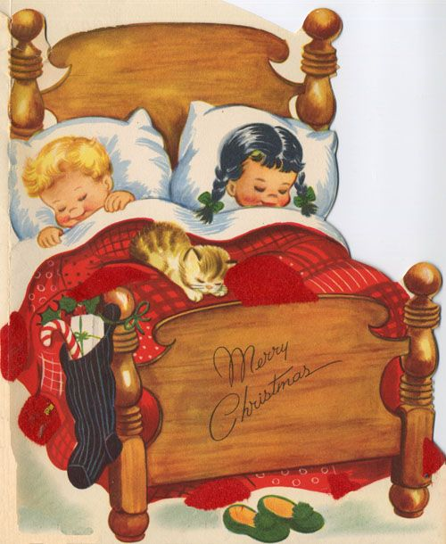 Vintage Christmas Storybook Fabric Block Christmas Eve Children in Bed Stockings