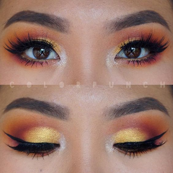 eeeeks I'm a little rusty  I haven't worn colorful eyeshadow in almost a month because... I am just lazy tbh  today I used @morphebrushes 35B palette with @bennyemakeup Iced Gold in the inner corner and Aztec Gold on the lid. Lashes are chopped up double stacked @luxylash Ain't No Wifey lashes! used my @makeupaddictioncosmetics Arctic White eye set brushes!