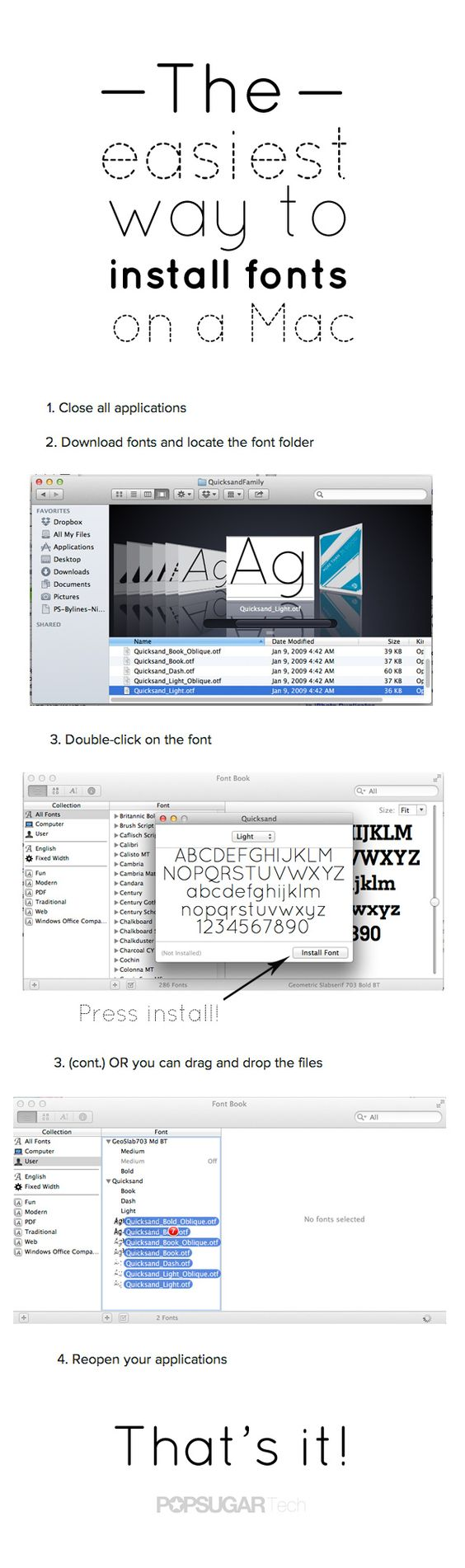 THE easiest way to install fonts for your custom typography needs. Click through for Windows directions and where to find free fonts!