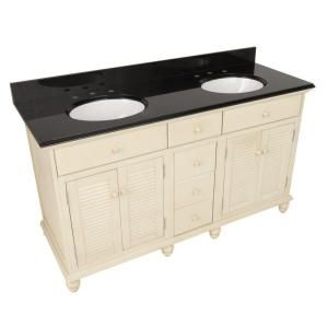 $975 - Cottage 61 in. W x 22 in. H Vanity in Antique White with Granite Top in Black with Double Bowls in White-CTAA6122D at The Home Depot