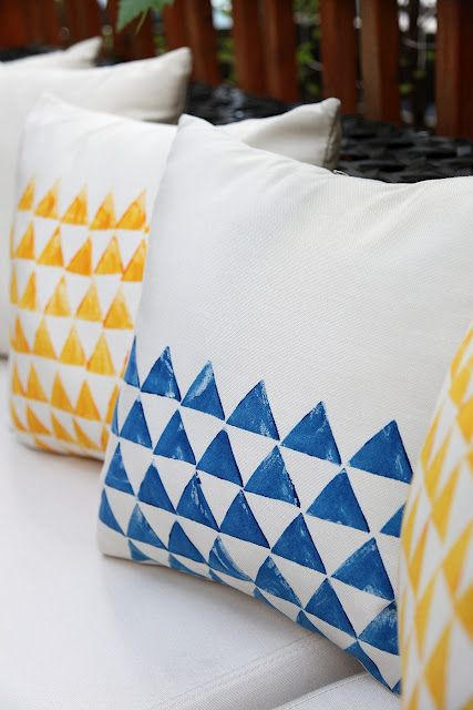 Potato Print Pillows by eightfootsix #DIY #Potato_Prints #eightfootsix #Pillows