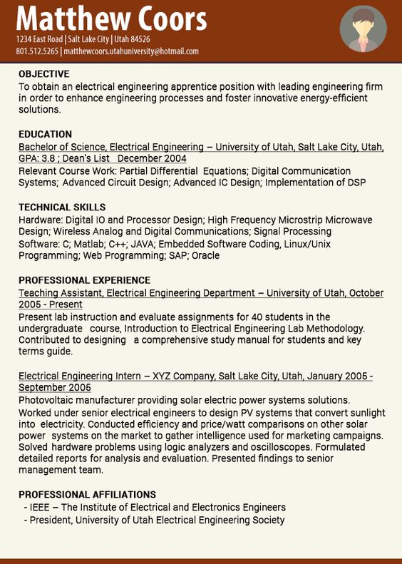 The company briefly describes about Electrical Engineering - most recent resume format