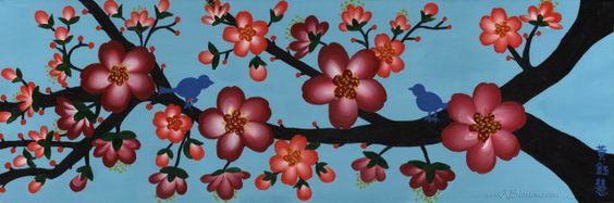 Two Is Better Than One Red Cherry Blossom Poster by KBlossoms, $32.00