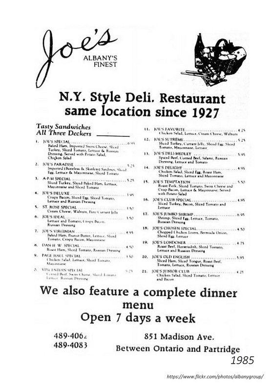 1985 Joe S Deli 851 Madison Deli Delicious Sandwiches Joes