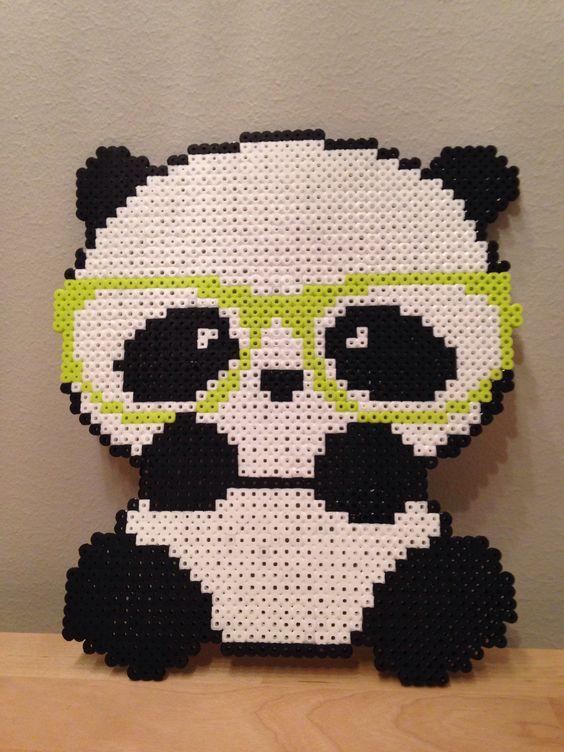 Perler beads hipster panda (Unknown design) Hama Nabbi
