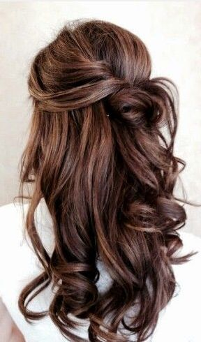 Bridesmaid 3 (Suzy): bouncy dropped curls in a pinned half up/ half down style. Hair type: Similar to mine. Naturally straight, brunette, long length - she is going to bring some of her clip in hair extensions to add fullness.: