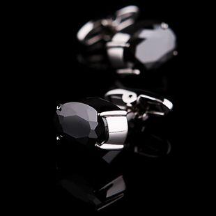 Black Onyx Centered Platinum Plated Cufflinks