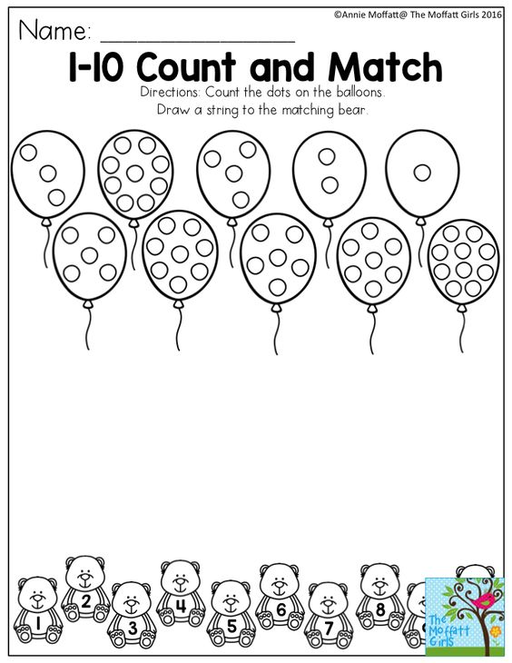 10 Count and Match- Count the dots on the balloons. Draw a string to ...