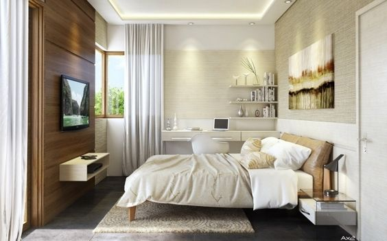 kleines schlafzimmer brauntöne holzwand fernseher montiert - fernseher im schlafzimmer
