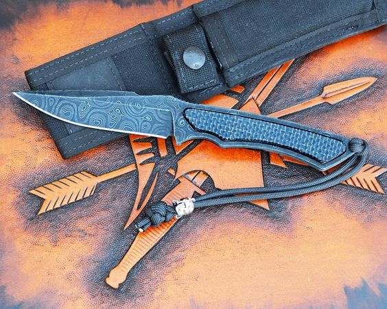Special Edition - Phrike - Chad Nichols Damascus / Lightening Strike CF - Spartan Blades, LLC