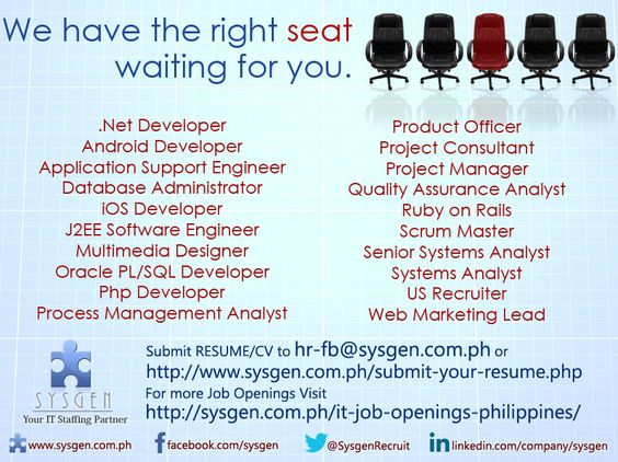 Start your IT Career with us! Visit http\/\/sysgenph\/it-job - system analyst job descriptions