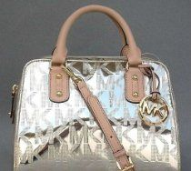 Michael Kors Monogram MK Embossed Patent Small Satchel Pale Gold From Michael Kors - Bags or Shoes Shop