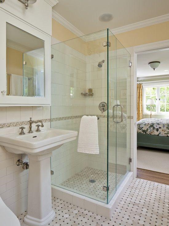 craftsman small 8 x 7 bathroom design | visit houzz com | Bathroom ...