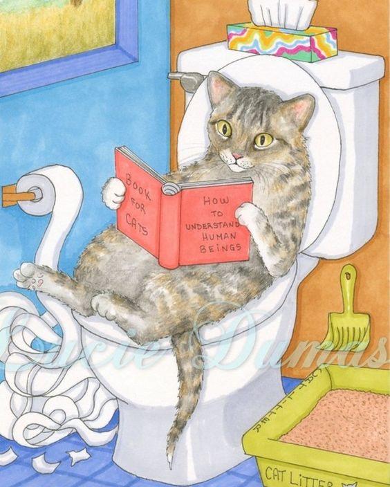 Art print 8 x 10 de peinture drôle Cat 535 par Lucie par artbyLucie