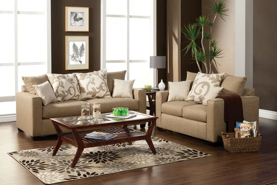 A.M.B. Furniture & Design :: Living room furniture :: Sofas and Sets :: Sofa Sets Made in USA :: 2 pc Colebrook contemporary style sand stone fabric Sofa and love seat set with square arms Made in the USA