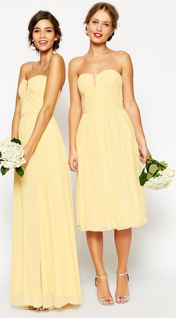 Sunny yellow bridesmaid dresses: