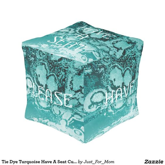 Tie Dye Turquoise Have A Seat Cube Pouf by Janz