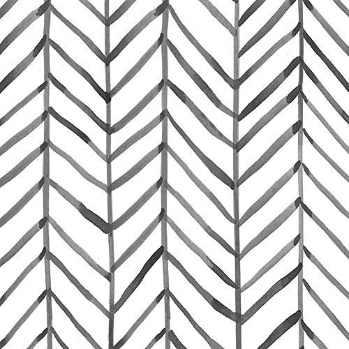 Haokhome 96020 1 Modern Stripe Peel And Stick Wallpaper Herringbone Black White Vinyl Self In 2020 Peel And Stick Wallpaper Contact Paper Decorative Striped Wallpaper