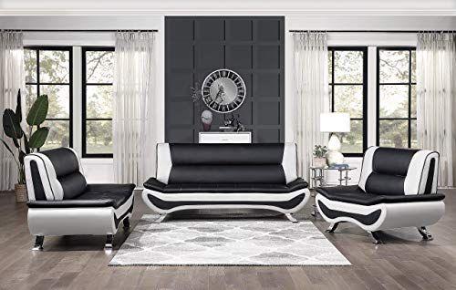 New Lexicon Falco 3 Piece Faux Leather Sofa Set Black White Online Showmetopstyle In 2020 Faux Leather Sofa Leather Sofa Set Sofa Set
