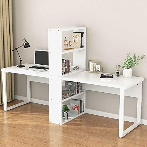 Little Tree 94 Computer Office Desk With Shelves For Two Https Www Amazon Com Dp B07pxjrbmj Home Office Design Bookshelves Diy Computer Desk With Shelves