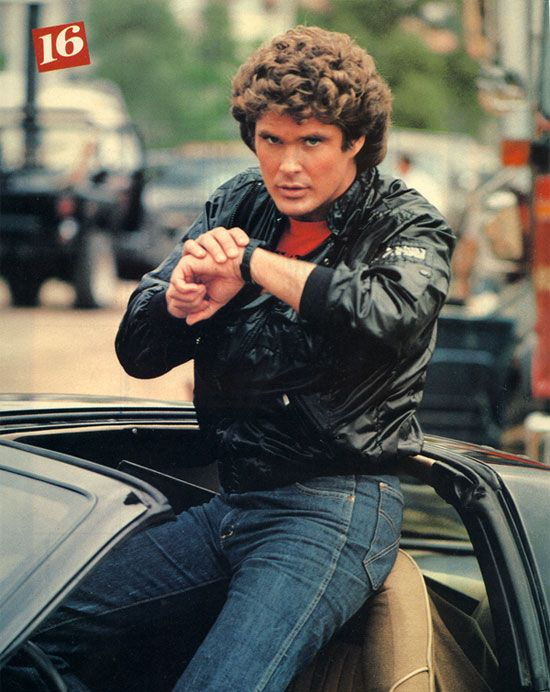 """David Hasselhoff with KIT the talking car on the '80s TV series Knight Rider. Hear more about this classic show on National Geographic Channel's """"The '80's: The Decade That Made Us"""" April 14-16, 2013. #natgeo80s"""