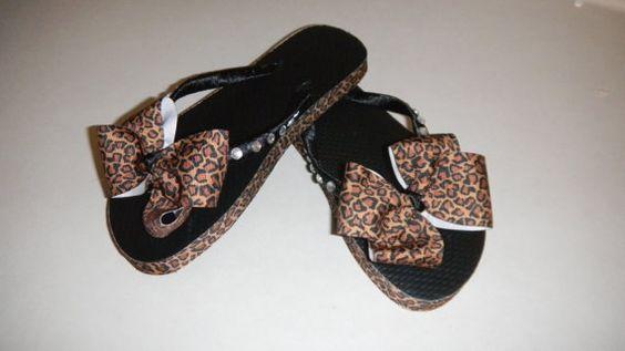 Cheetah Print Flip Flops with Rhinestones by PrincessBellasBoutiq, $12.00