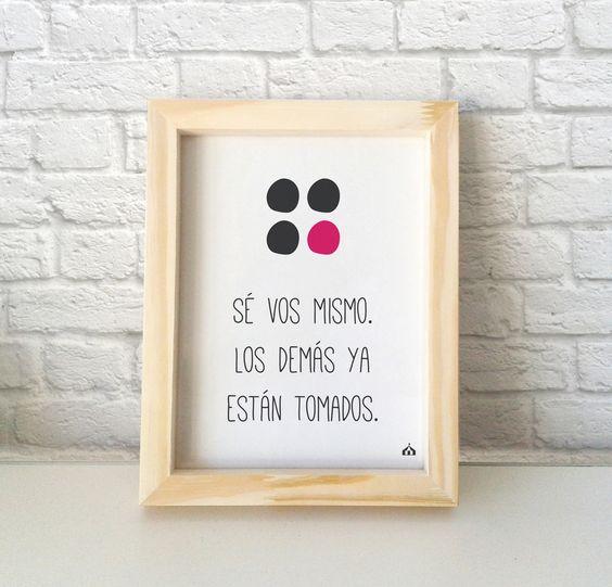 """Cuadrito decorativo con frase """"Sé vos mismo"""" —  Encontrá el tuyo en www.kermesseaccesorios.com.ar  #lakermesse #deco"""