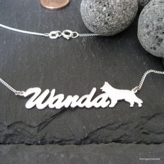 Namenskette mit Schäferhund in 925er Silber, Wunsch Name mit Hund, Hundefan, Dog