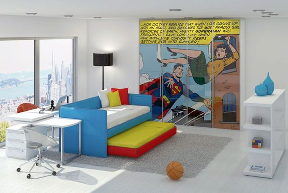 Modern Shining Kids Bedroom with Superman Hero Printing for Closets