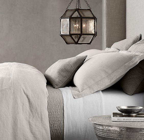 Stonewashed Belgian Linen Satin Stitch Bedding Collection.... the full/queen size duvet in the Mist color with matching shams