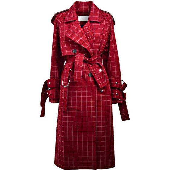 Checked Trench ($940) ❤ liked on Polyvore featuring outerwear, coats, red, checked coat, red trench coats, red coat, red trenchcoat and collar coat