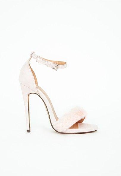 Pink White Francesca Faux Fur Strappy Heeled Sandals Heels ...