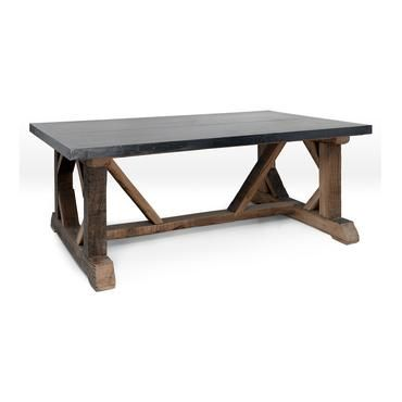 Zinc Topped Coffee Table Block Wood Trestle Base Dining Kitchen Den Pinterest Gardens