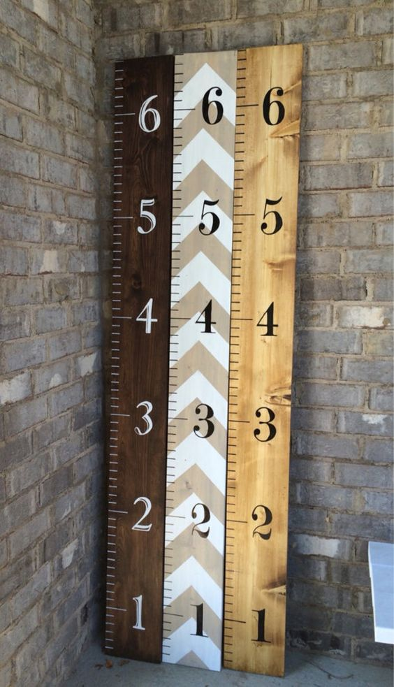 Hand Painted Wooden Growth Chart Ruler To Hang On The Wall