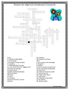 Worksheets Flowers For Algernon Worksheets flower google and flowers for algernon on pinterest vocabulary crossword puzzle 30 words are hidden in the puzzle
