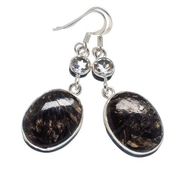 """Golden Seraphinite, White Quartz 925 Sterling Silver Earrings 2"""" EARR314043"""
