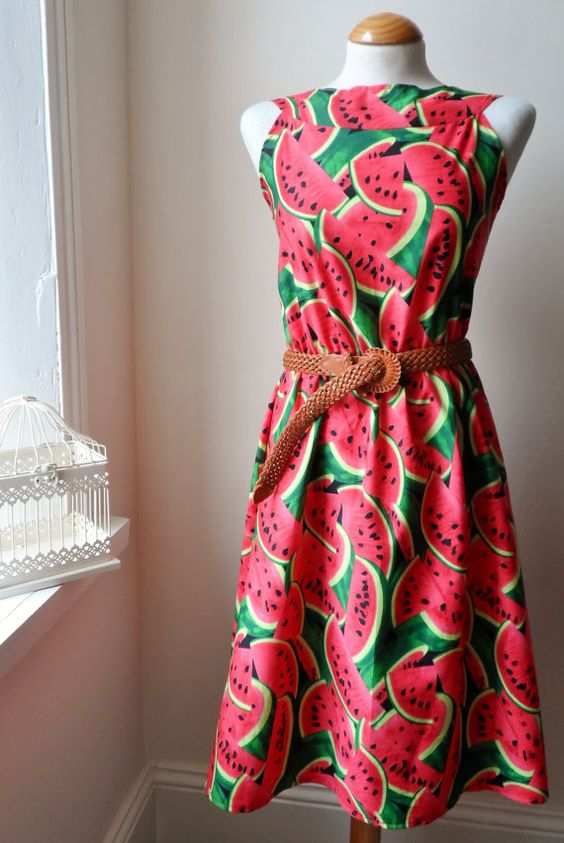 Beautiful Pink and Green Watermelon Dress // Boho 50s Inspired Dress / Handmade / Choose Your Size on Etsy, £23.63