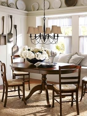 cute dining area, love the plates around the ledge