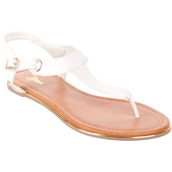 SPURR Ella Sandals ($11) ❤ liked on Polyvore featuring shoes, sandals, flat sandals, sling back sandals, open toe flat sandals, ankle strap flat sandals, metallic flat sandals and slingback shoes