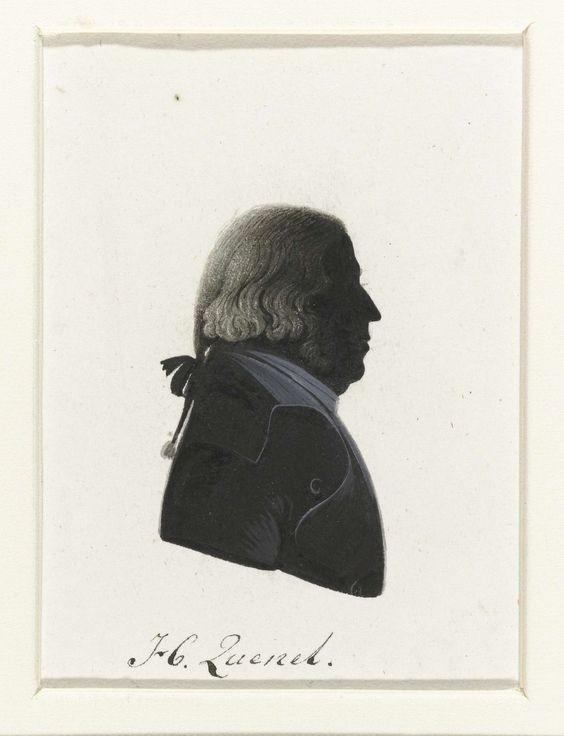 anoniem | H. Quesnel, possibly Hausdorff, 1796 | Silhouet van borstbeeld in profiel naar rechts. Staartpruik en bakkebaarden. Opschrift; o.: H. Quesnel.