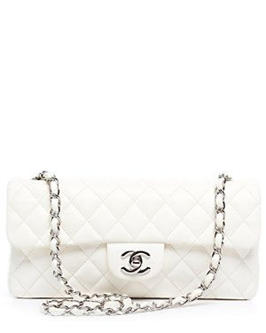 Chanel Ivory Lambskin Medium East/West Flap Bag