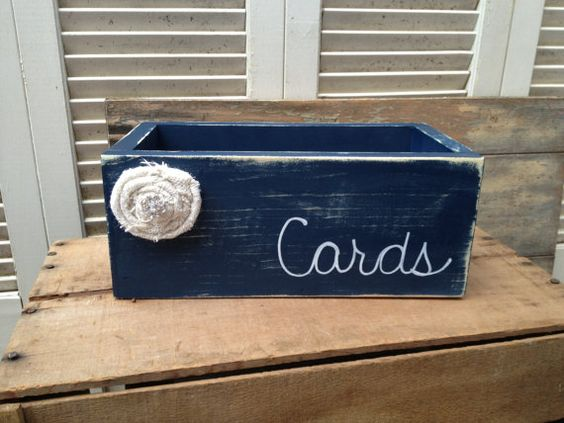 Distressed Navy Blue And White Wedding Cards Box Navy