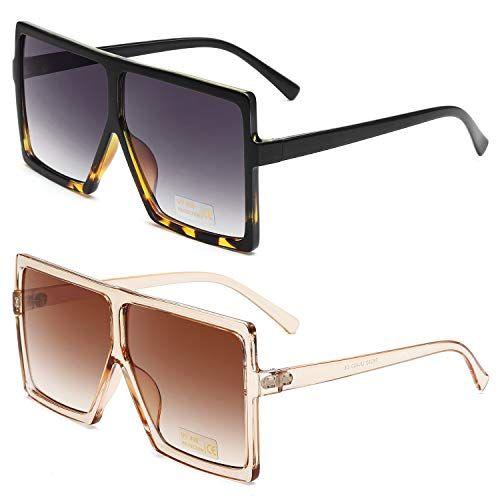 GRFISIA Square Oversized Sunglasses for Women Men Flat Top