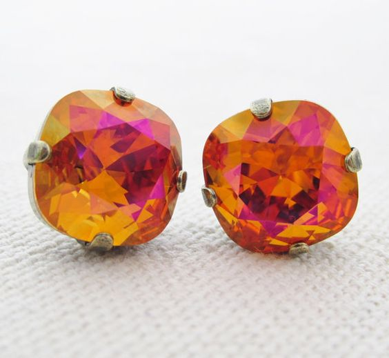 orange Sarovski stud earrings