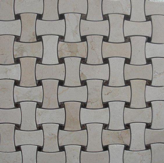 Dog Bone Basket Weave Marble Mosaic Tile Crema Marfil W