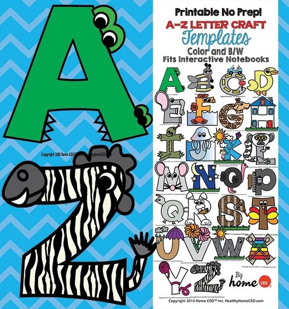 Printable Letter Craft Templates in color and black and white. Fits interactive notebooks. Perfect and fun for preschoolers and kinders.