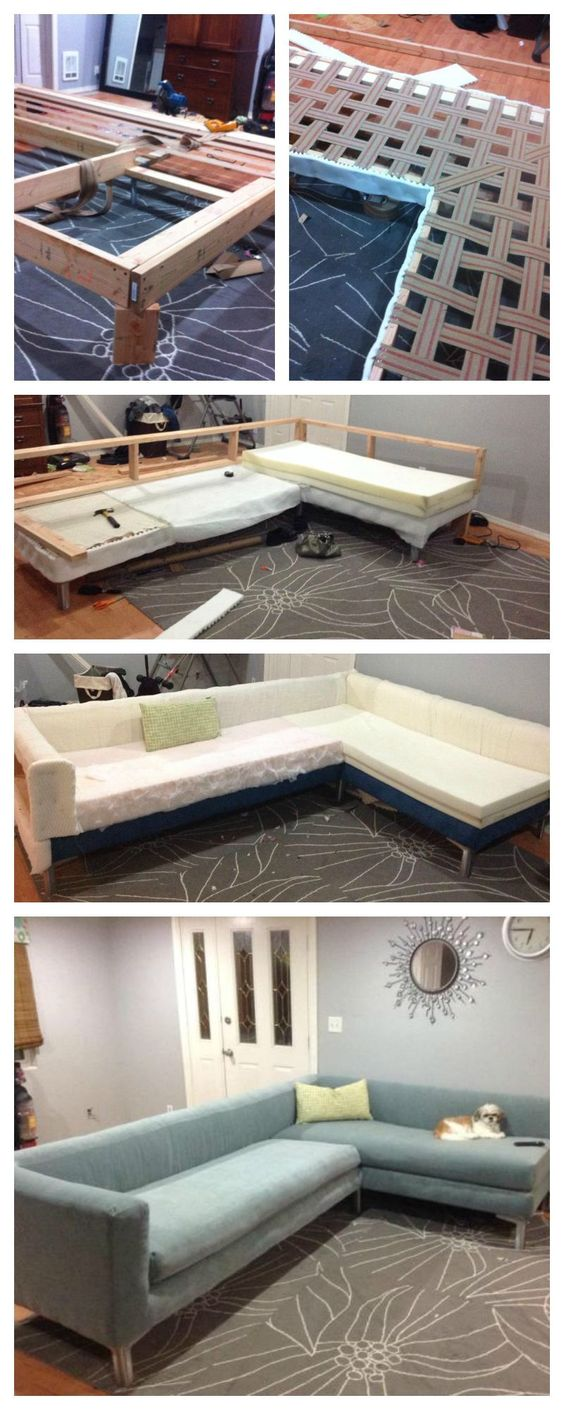 Build your own sofa or couch!  Easy DIY 2x4 frame!  Modern style blue pretty sectional how to tutorial upholster frame cushion ANA-WHITE.com: