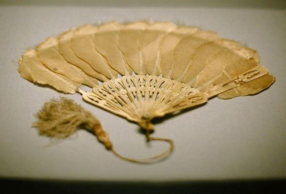 Mary Lincoln's blood-stained fan from the Ford Theater is on display at the Abraham Lincoln Library and Presidential Museum.