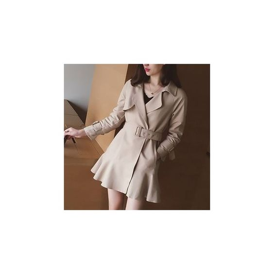 Plain Trench Coat ($54) ❤ liked on Polyvore featuring outerwear, coats, women, brown trench coat, trench coat, brown coat and leather-sleeve coats